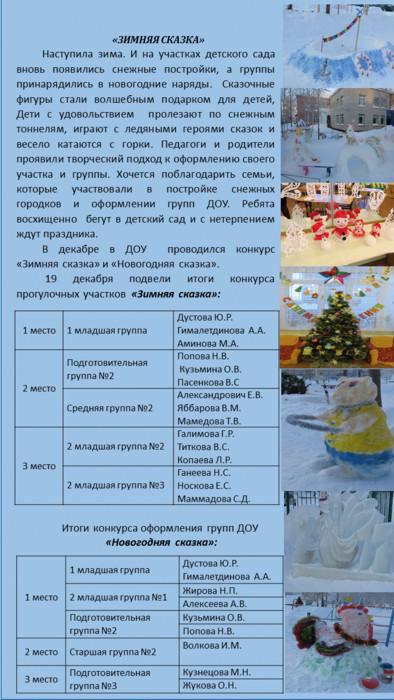 Результаты конкурса зимняя сказка